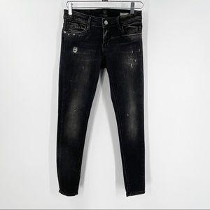 ELIAS RUMELIS Super Skinny Black Jeans 26 Iron
